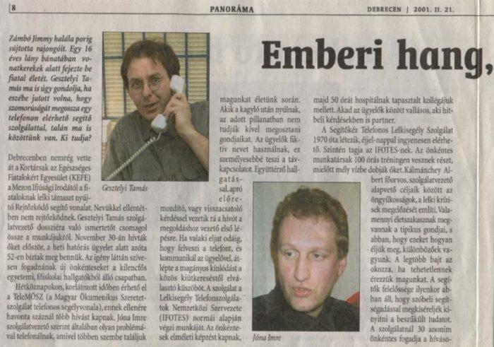2001. lelkisegcikk